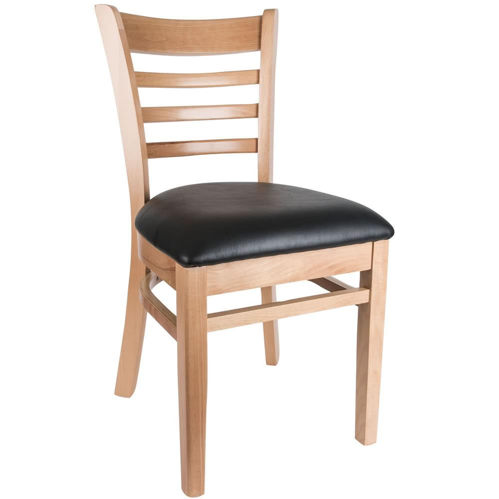 "Natural Finish Wooden Ladder Back Chair with 2 1/2"" Padded Seat"