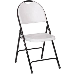 Gray Granite with Black Frame Plastic Molded Folding Chair
