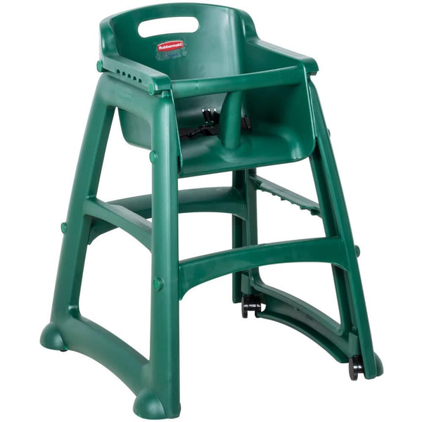 Green Sturdy Chair Restaurant High Chair with Wheels - Assembled