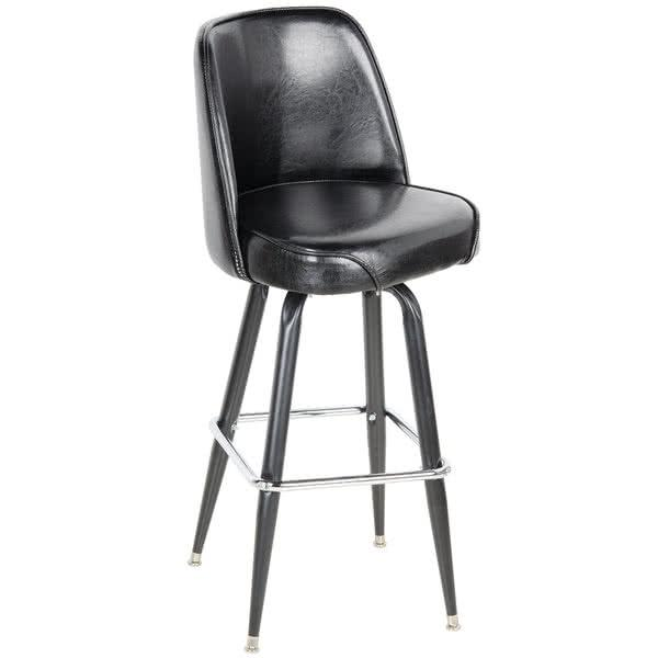 "Deluxe Black Barstool with 19"" Wide Bucket Seat"