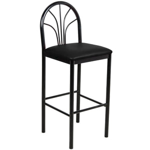 "Fan Back Bar Height Cafe Chair with 2"" Black Padded Seat"