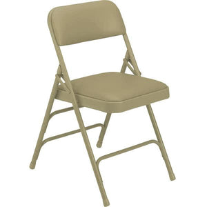 "Beige Metal Folding Chair with 1 1/4"" French Beige Vinyl Padded Seat"