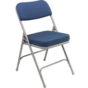 "Gray Metal Folding Chair with 2"" Regal Blue Fabric Padded Seat"