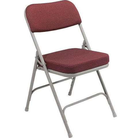 "Gray Metal Folding Chair with 2"" New Burgundy Fabric Padded Seat"