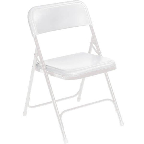 White Metal Folding Chair with White Plastic Seat