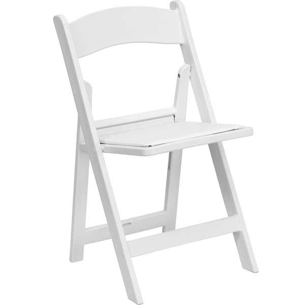 White Plastic Folding Chair with Padded Seat
