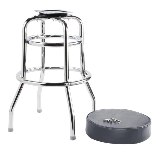 "Black Double Ring Barstool with 3 1/2"" Thick Seat"