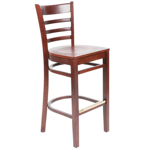 Mahogany Finish Wooden Ladder Back Bar Height Chair
