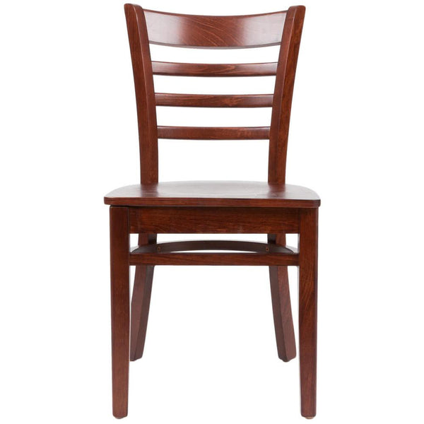 Mahogany Finish Wooden Ladder Back Cafe Chair
