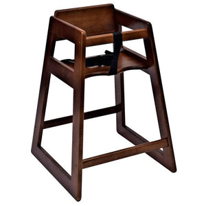 Assembled Stacking Restaurant High Chair with Walnut Finish