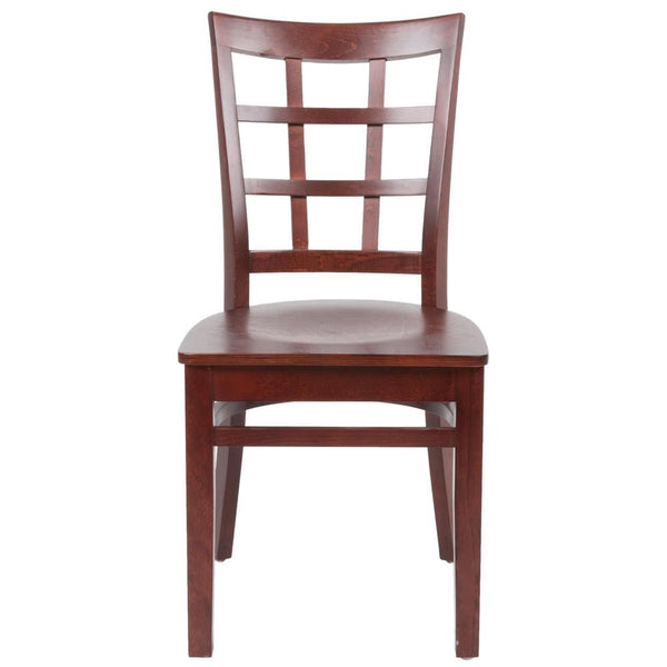 Mahogany Finish Wooden Window Back Cafe Chair