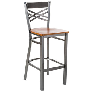 Clear Coat Steel Cross Back Bar Height Chair with Cherry Wood Seat