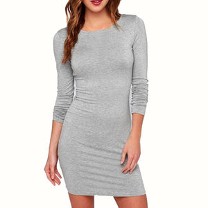 Sexy Women Ladies Dress Elegant Slim Bodycon Long Sleeve Club Party Cocktail Mini Dresses Black Gray Causal Cotton Winter Dress