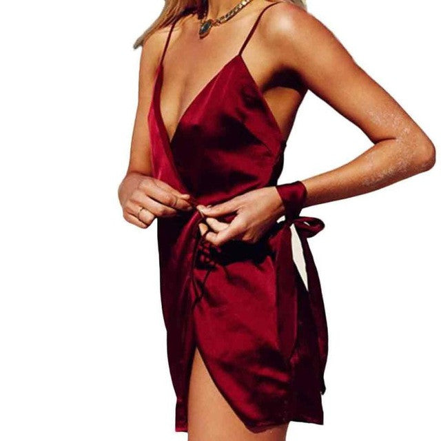 Fashion Sexy Dress Women Solid Red Dress Casual Dresses Evening Party Vestido De Festa Vestidos 2017#LSN