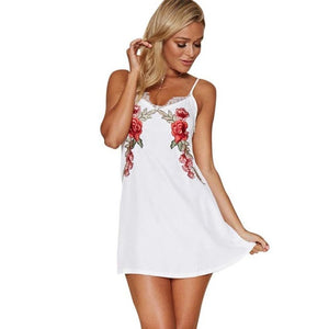 Embroidery Summer dress Women Spaghetti Strap Lace Sleeveless V Neck Party Black White vestidos mujer Short Dress