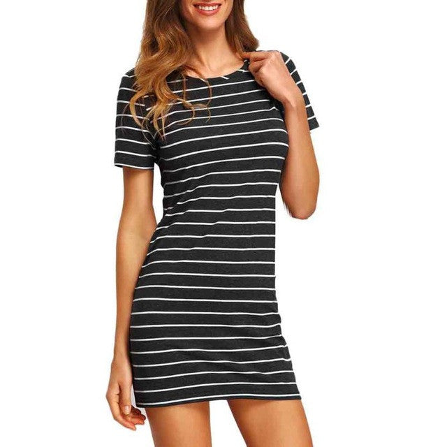 2017 New Fashion Summer Sexy Vestidos Striped Women Dress Black and White Short Sleeve Striped Loose Cotton A-Line Mini Dress