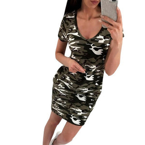 Camouflage Summer Dress 2017 New Arrival Womens V-Neck Ladies Casual Short Sleeve Mini Dress Straight vestido de festa