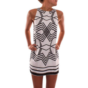 Hot Sale Women Dress 2017 Spring Summer Printed O-Collar geometric studded Beach Sleeveless Evening Party Mini Dress