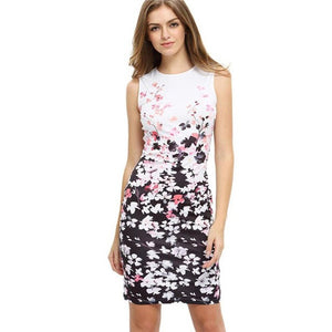 Work Office Ladies Women's Casual Dresses Elegant Floral print Pattern Sleeveless Round Neck Mini Dress Bodycon 2017 Plus Size