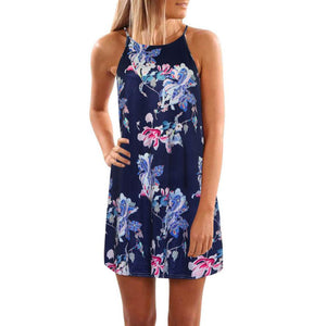 Floral Print Random Drawstring Elastic Waist Cami Dress Spaghetti Strap Sleeveless Sexy Slip Summer Dress