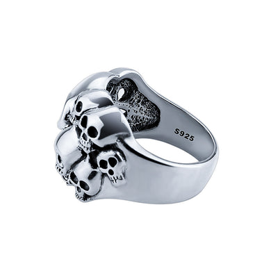 Skulls Ring -  100% Pure 925 Sterling Silver