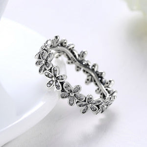 Silver Floral Ring With Clear Crysta Flowers -100% 925 Sterling Silver