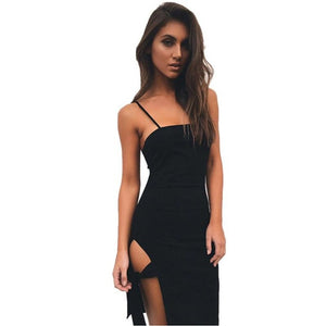 Asymmetrical Summer Black Camis Dress Women Sleeveless Dress Club Party Dresses Robe Vestidos Short Dress vestido de festa