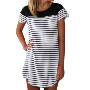 Women Patchwork Dress Striped Print Splicing Asymmetric Short Sleeve Mini Dress Cheap Summer Dress Drop Shipping