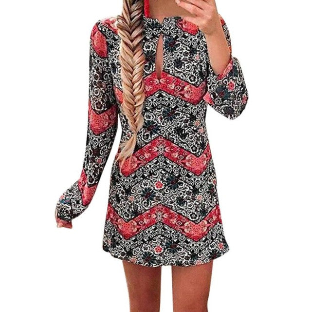 2017 New Arrival Summer Autumn Dress Women Long Sleeve Print Party Evening Mini Dress short dresses for party elegant
