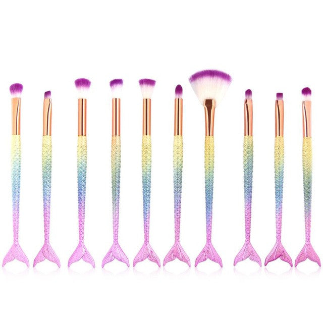 MAANGE New Arrival 10Pc Mermaid Foundation Eyeshadow Contour Eye Lip Makeup Brushes Set