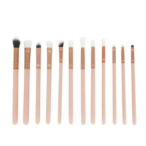 Beauty Girl Hot Popular 12Pcs Gold Mini Cosmetic Eyebrow Eyeshadow Brush Makeup Brush Sets Kits Tools