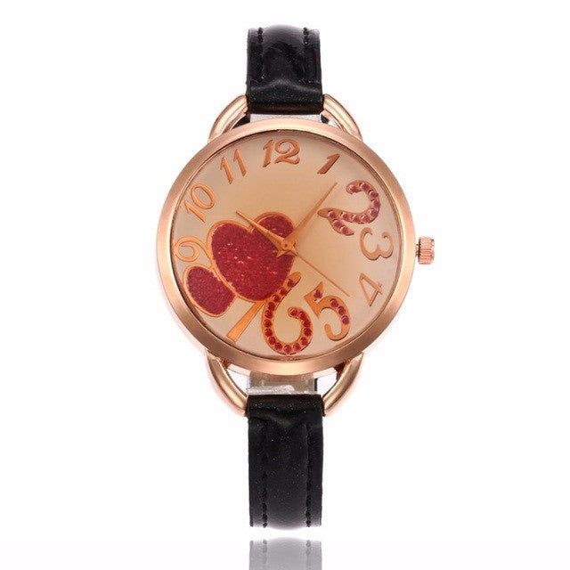 Heart Pattern Leather Band Wrist Watch