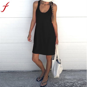 2017 Summer Dress Sexy Women Ladies Sleeveless Loose Sundress Holiday Beach Soft Cotton Tank Mini Dress