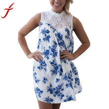 2017 Beachwear Summer Dress Women Sleeveless Blue Floral Printed Lace Splice Casual Beach Evening Sundress vestido de festa