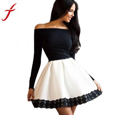 Sexy Autumn Women Dress Black  Solid Off Shoulder Slim Casual Long Sleeve Evening Party Short A-Line Mini Dress for Ladies