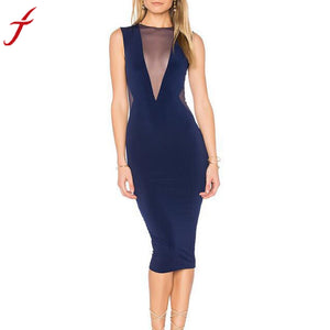 Sexy Perspective Hollow Out Summer Dress Women Ladies Sheath Sleeveless Zippers Evening Party Knee-Length Dress vestidos