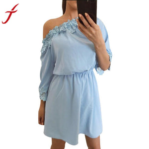 Sexy Cold Shoulder Summer Dress 2017 Applique Women Lace Half Sleeve Party Slim Cocktail Mini Dress Vestidos