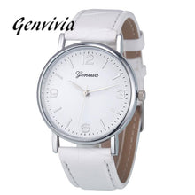 GENVIVIA Luxury Brand Business women watch 2017 Fashion Leather Analog Quartz Unisex WristWatch
