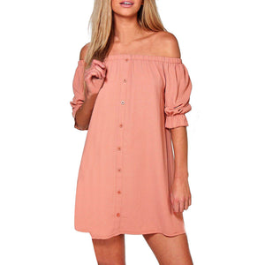 Womens Ladies Off Shoulder Button Mini Dress Evening Shirt Dress