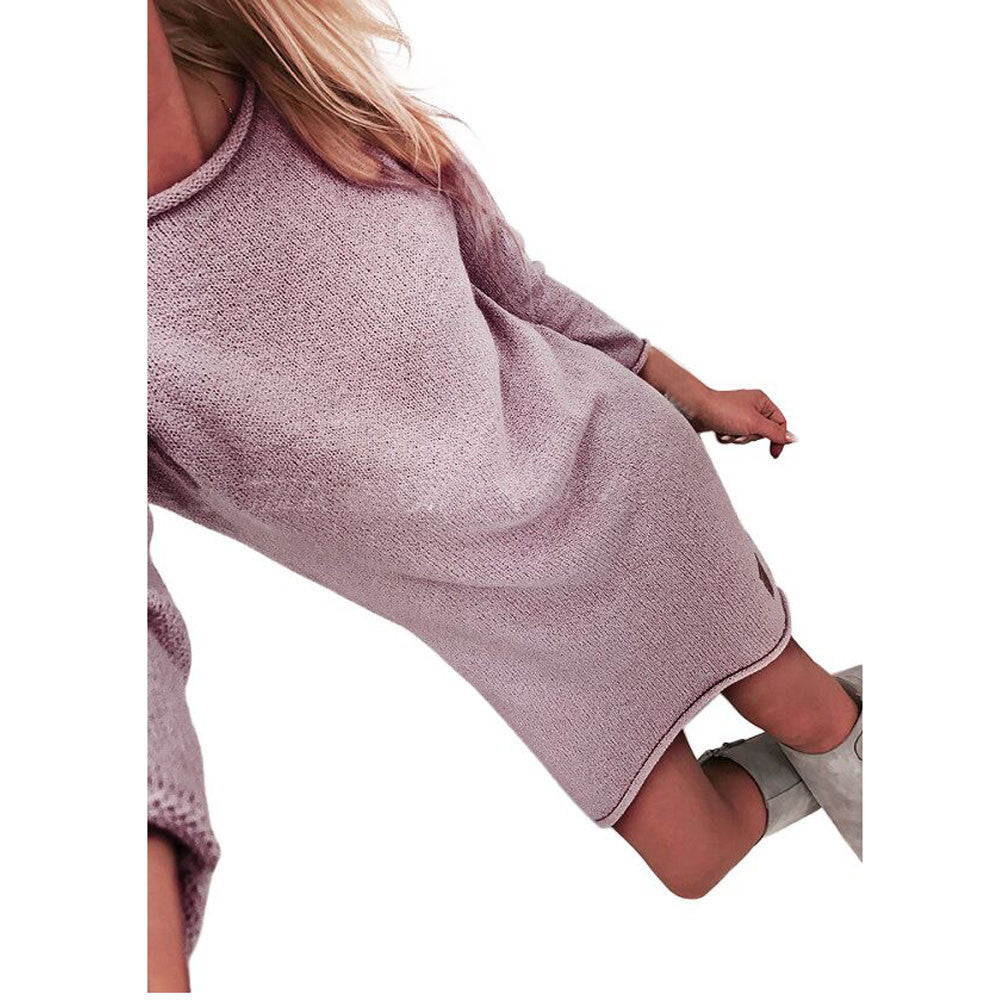 Fashion Women Solid O-Neck Sweater Long Casual Long Sleeve Pullove Dress