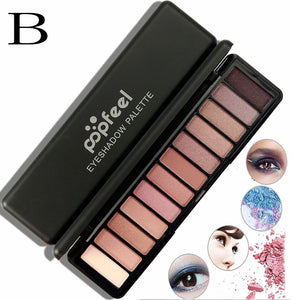 12 Color Women Cosmetic Matte Eyeshadow Cream Makeup Palette Shimmer