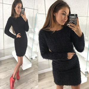 Women Winter Long Sleeve Solid Sweater Fleece Warm Basic Short Mini Dress