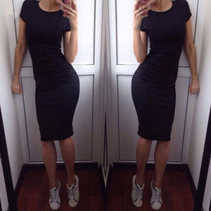 Women Fashion Sexy Solid Short Sleeve  Slim Dress