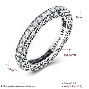 Retro style zirconium ring - 925 Sterling Silver Ring