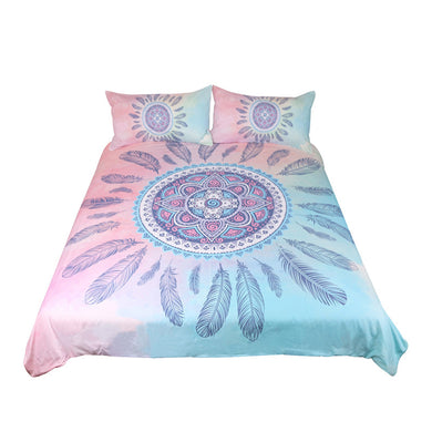 Fashiontwins Mandala Bedding Set Pink and Blue Bedding set 3pcs