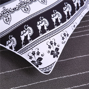 Fashiontwins Indian Black and White Printed Quilt Cover Bedding Set Queen Size 4Pcs Hot