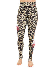 Cheetah Flower Leggings High Waisted