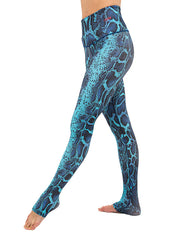 Blue Snake Leggings High Waisted