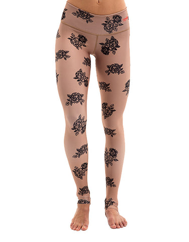 Tan Roses Leggings