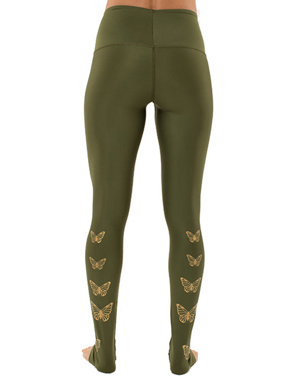 Gold Butterflies Leggings High Waist